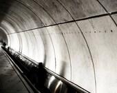 Photograph Black and White - Woman on Washington DC Underground Metro Subway Escalator Architecture Vertical Art Print Home Decor