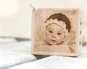 Personalized Keepsake Baby Block / First Christmas Ornament - Laser Engraved with your Photo