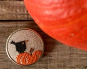 autumn  halloween cross stitch brooch with pumpkin and blacbird