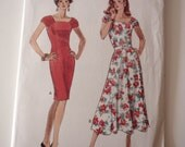 Dress Pattern, Uncut 1980s Butterick 3910 Misses Dress in sizes 14, 16, 18 & 20 in 2 variations