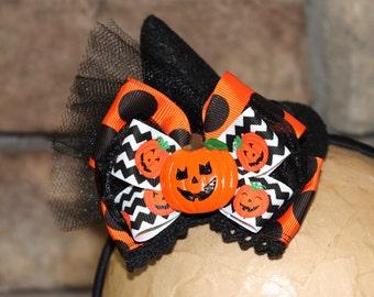 Mini Witch Hat Headband, Halloween hat, Pumpkin_Black and Orange Polka Dot