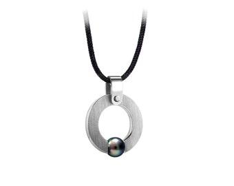 Mens Black Pearl Pendant Tension Set in Stainless Steel