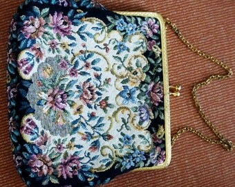 Vintage Evening Bag Tapestry Woven Floral Handbag Black Pink Blue Green Gold