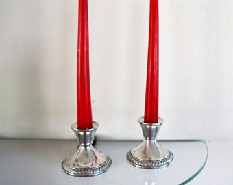 Vintage Sterling Silver Candle Holders Weighted Metal Decorative Mid Century Design Set of Two