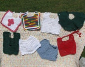 Red, green, blue, rainbow, white, shamrock, and cross bibs for baby boy or baby girl for Christening, baptism, baby shower
