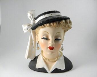 Vintage Lucy head figural flower vase, Napco Lucille Ball vase, black dress, signed Napco, porcelain vase, collectible 1950's, midcentury