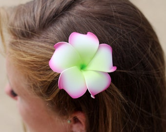 Plumeria Flower Hair Clip, Pink and Green, 3 inch, Floral Hair Clip, Hawaiian Hair Flower