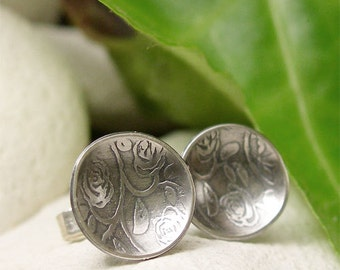 Tiny Silver Stud Earrings, Silver Flower Earrings, Rustic Silver Earrings, Casual, Country Nature Jewelry, Silver Rose Texture Disc Earrings