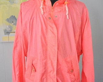 Vintage Windbreaker by Andy Johns Faded Neon Peach Pink Orange Jacket Funky 90s Ladies LARGE XL