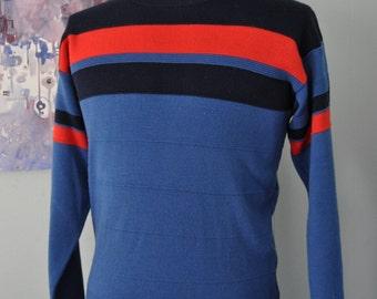 Vintage Ski Sweater by Tyrolia Sweatshirt Soft Red Blues Striped Slim MEDIUM