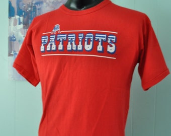 80s Patriots Vintage TShirt  New England Super Bowl Red Pats Tee Massachusetts Boston MEDIUM