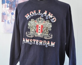 80s Sweatshirt Vintage Holland Amsterdam Seal Faded Navy Blue XL