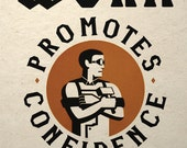 Steampunk Art Print Industrial Worker Confidence Dieselpunk Propaganda
