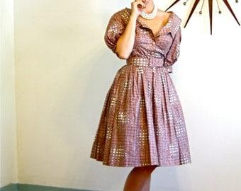 Vintage 50s Melbray Regal Dress 1950s New Look Full Sweep Off the Shoulder Mauve Dusty Rose Pink Cotton Novelty Picnic Basket Print Dress