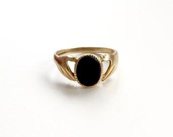 V I N T A G E // 9ct / Fede Gimmel ring / yellow gold and onyx / Claddagh / size 8.5