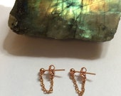 Rose Gold Chain Earrings ~ Front to Back