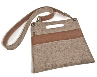 "Wool Felt Cross-Body Bag - Natural Gray with Brown Accents, 11.9"" x 13"", 100% Wool Felt"