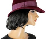 Vintage Floppy Hat 7 1/8 M 70s Dark Burgundy Red Fur Felt Burberrys Fedora Free US Shipping