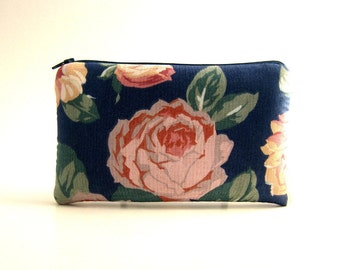 Blue Floral Pouch,  Pencil Pouch, Padded Pouch, Clutch, Pencil case, Cosmetic pouch