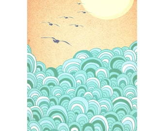 Over the sea, Whimsical, Seascape Art Print, Gift, home decor, kids room, nursery print