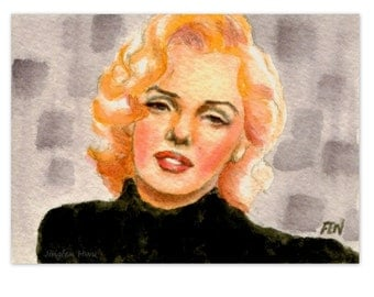 "beautiful woman painting  ""study of Marilyn Monroe In Black"" gift for her room decor desk"