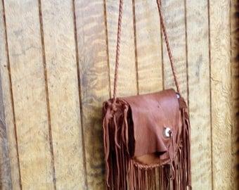 Buckskin Medicine Bag - Native American Leather Bag, Deerskin Purse, Fringe Leather Purse, Leather Bag, Shoulder Bag, hippie Leather Purse