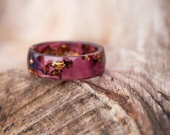 Men Ring Deep Purple Resin Ring Copper Gold Flakes Big size 12 Smooth Ring OOAK dark burgundy marsala geometric jewelry