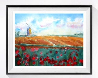 Old Country Barn Wind Mill Art ORIGINAL Watercolor original watercolour aquarrelle Dutch tulip farm Holland European farm orange wall art