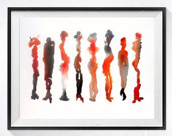 Watercolor Abstract Contemporary artwork Archival modern abstract fine art watercolour print Wall art color red painting red orange