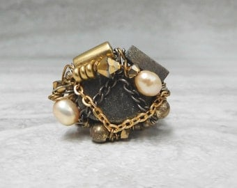 Wire Wrapped Ring in Pyrite & Gold -Steampunk Ring by Sharona Nissan 3871R last one