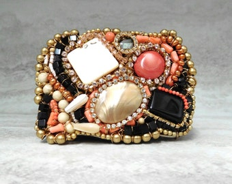 One of a Kind Belt Buckle with Angel Skin Coral - Hand Wired Buckle with Semi Precious  stones