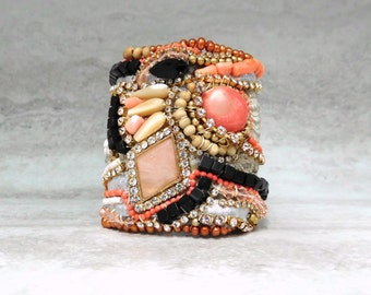Large Embellished Cuff with Rhinestones- Angel Skin Coral & Black Art Deco Fabric Bracelet Sharona Nissan