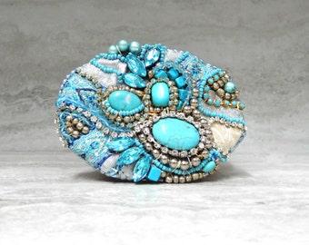 Turquoise & Rhinestone Fabric Belt Buckle - One of a kind Lavish Women's Buckle by Sharona Nissan