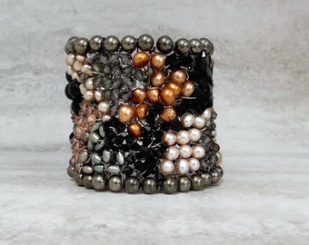 Huge Statement Cuff - Unique Artisan Jewe;ry Watercolor Bracelet in Black Grey & Peach Wire Wrapped by Sharona Nissan (sample sale) 3496B