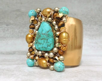 Turquoise & Gold Cuff - Adjustable Gold Metal Cuff with Turquoise Center (Also available in Mother of Pearl)
