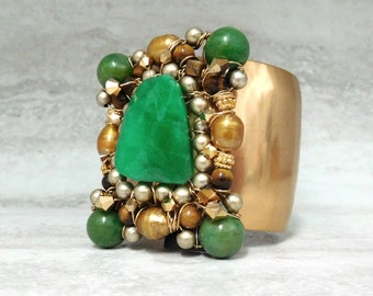 Gold Cuff with Emerald Green Jade (2 inch width)- Regal Jewelry by Sharona Nissan 4103B