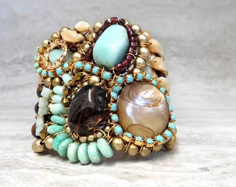 Unique Tribal Cuff - Colorful Boho Bracelet with Turquoise & Rhinestones Handmade by Sharona Nissan ( ready to ship) 4008B