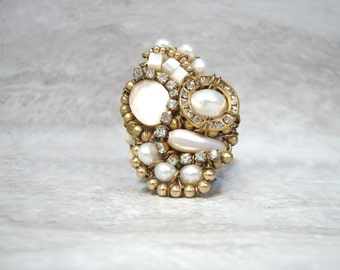 Monster Ring- Huge Unusual White Pearl & Ivory Shell Ring with Gold (available in emerald green, black and fuchsia )
