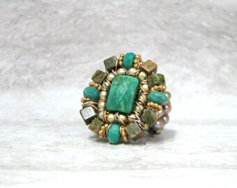 Adorable Ring- Handmade Ring in Green Semi Precious Stones by Sharona Nissan (sample sale size 6)