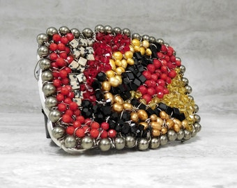 Boho Belt Buckle- Western Multi color Buckle with Red, Black, & Yellow Semi Precious Beads Wired by Sharona Nissan