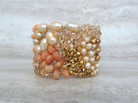 Wired Beaded Cuff Bracelet with Peach Angel Skin Coral & Gold Crystals-Handcrafted Luxury Boho Artisan Jewelry by Sharona Nissan 3695b
