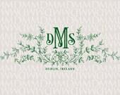 Spring Vines Custom Wreath Floral Wedding Monogram - Wedding Logo - Wedding Crest
