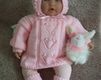 Pink baby or reborn Sweater hat cap booties set Layette PINK hearts on front and hat  adorable gift / dress up for photo 0-12M Ready to Ship