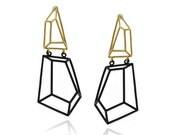 Geometric Dangle Earrings, Gifts for Her, Geometric Black & Gold Earrings, Bridal Earrings,Wedding Jewelry, Brass Earrings