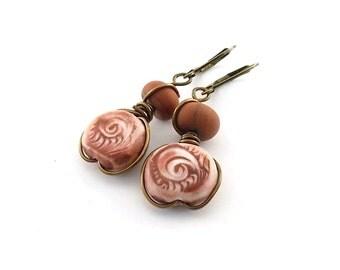 Red Jasper Swirl Earrings - Polymer Clay - Lightweight Earrings - Jasper Earrings - Antique Brass - Boho Earrings - Leverbacks - AE012