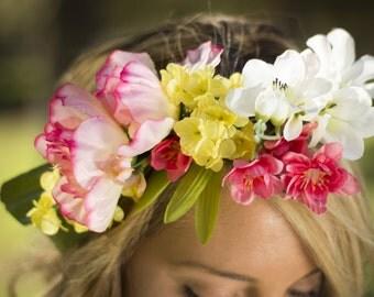Aurora Floral Crown Silk Flower Crown Maternity Photoshoot Wedding Accessory
