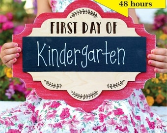 Personalized First Day Of Chalkboard School Sign Kindergarten First Grade Preschool CUSTOM Made Pick Your Color (NVMHDAY0750)
