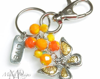 Butterfly, Coral Yellow Cluster Bead, Key Chain, Purse Charm