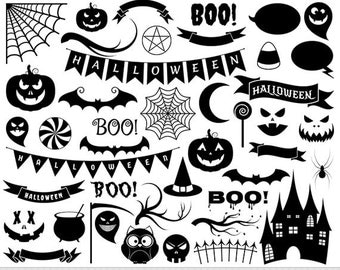 Halloween Clipart Halloween Clip Art Pumpkin Face Carving Spooky Scrapbooking Jack O Lantern Silhouette Clipart Invitations Digital Stamp