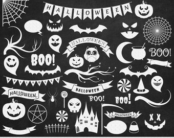 Halloween Clipart Chalkboard Halloween Clip Art Pumpkin Carving Spooky Scrapbooking White Halloween Silhouette Clipart Invitations